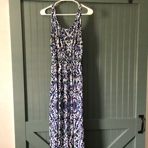 Blue and White Pattern Maxi Dress